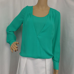 GREEN OVER LAID CAMI SURPLICE SHIRT TOP BLOUSE  2